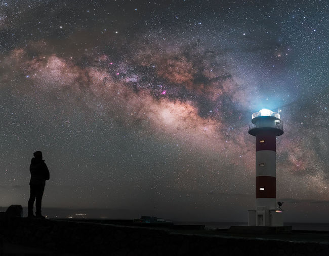 The night sky has always been a guide for the man, like the lighthouses have been for boaters. Never stop to contemplate its beauty. Astronomy Astrophotography Beauty In Nature Galaxy Landscape Lighthouse Lighthouse_lovers Milky Way Nature Night Night Lights Night Photography Nightphotography Outdoors Panorama Panoramic Panoramic Landscape Panoramic Photography People Science Sky Space Space And Astronomy Space Exploration Star - Space Fresh On Market 2017 Moments Of Happiness