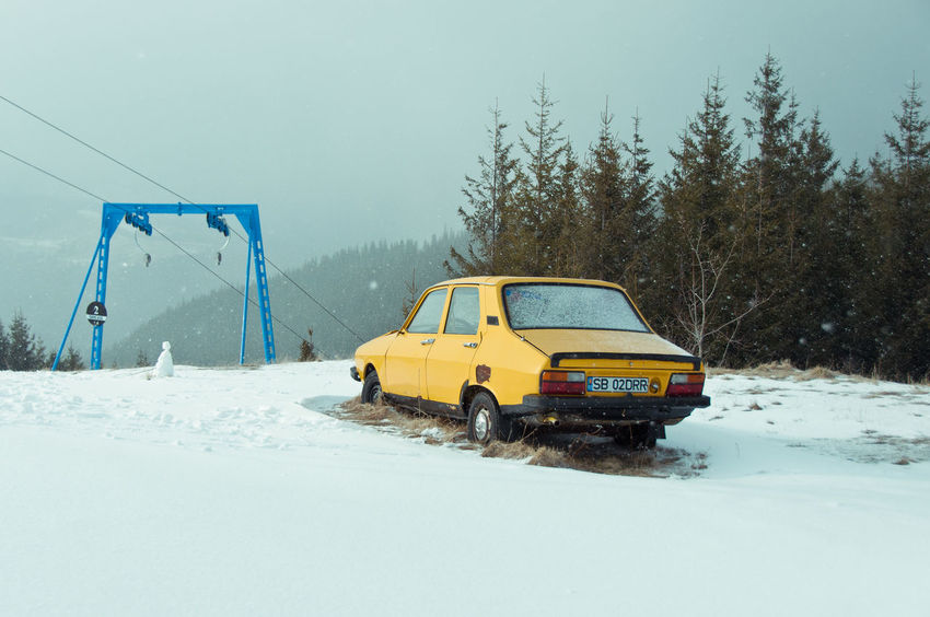 Car Cold Temperature Dachshund Long Goodbye Mountain Resort Nature No People Old Outdoors Rom,an Snow Snowing Transportation Winter Visual Creativity