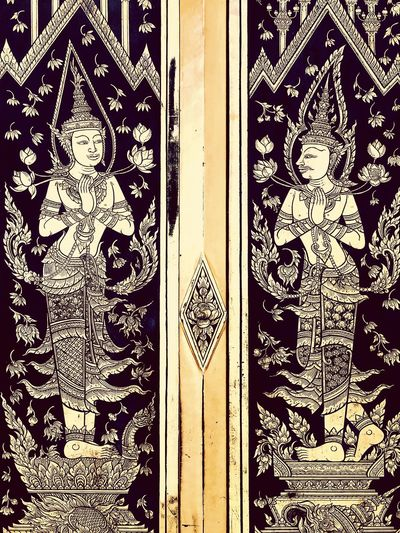Thailand art Thailand Thai Buddhist Temple Buddhism Lifestyles Gold Colored Gold Arts Culture And Entertainment Art Door Close-up No People Full Frame Day Outdoors