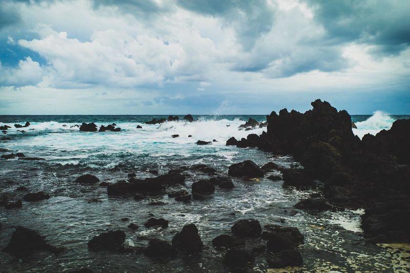 Laupahoehoe Point Laupahoehoe Big Island Hawaii Sky Sea Water Cloud - Sky Beauty In Nature Scenics - Nature Land Horizon Over Water Outdoors Rock Tranquility