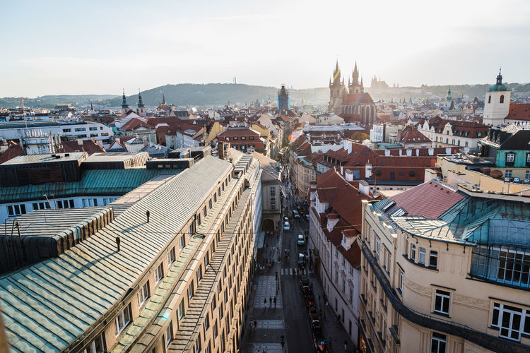Cityscape of Prague at sunset Bohemia City Centre Cityscape Czech Czech Republic Prague Sunlight Architecture Building Building Exterior Built Structure City Cityscape Flare High Angle View Landmark Nature Outdoors Sky Sunset