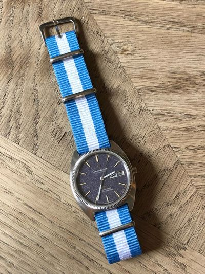 Wearing the colours of my country. ⚽ Football Fan Football Arg Argentina Omega Worldcup2018 Worldcup Blue Still Life High Angle View No People Indoors  Close-up Time Personal Accessory Instrument Of Time Wristwatch Watch