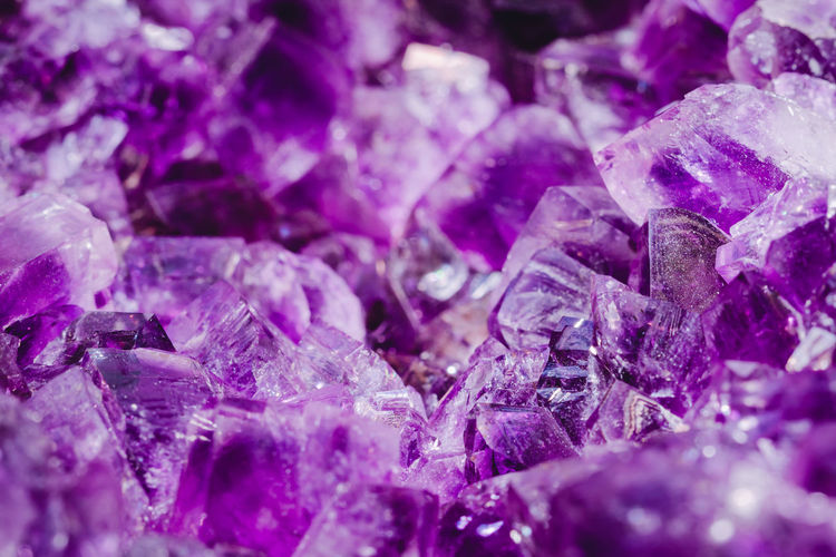 Full frame shot of purple precious gems