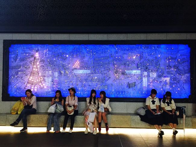 Sitting Japanese People Togetherness Illuminated Night Full Length Group Of People Japanese Women Women Art ArtWork Blue Person Japanese Girl Japanese  The Color Of Technology