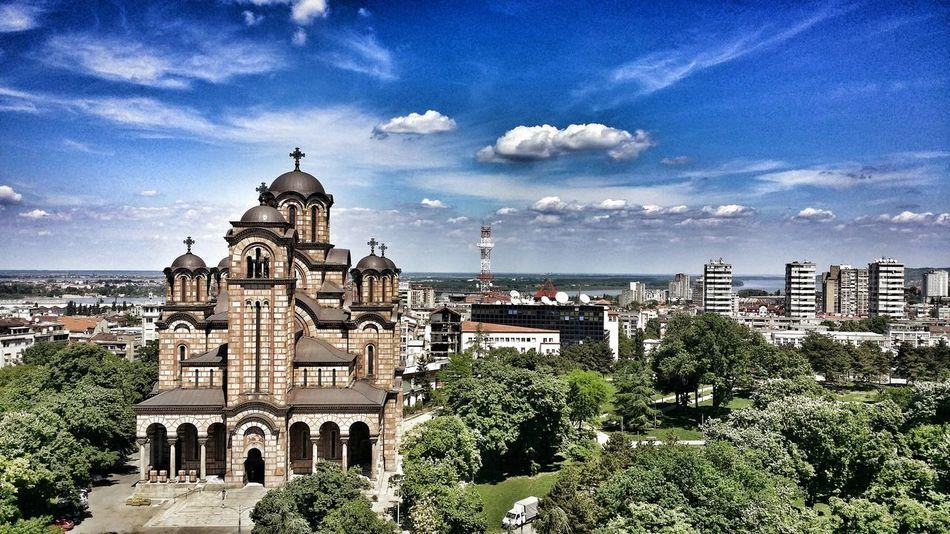 StMark Church Ortodox Church Crkvasvetogmarka Serbo-ByzantineTasmajdan Park Palilula Clouds And Sky Blue Sky