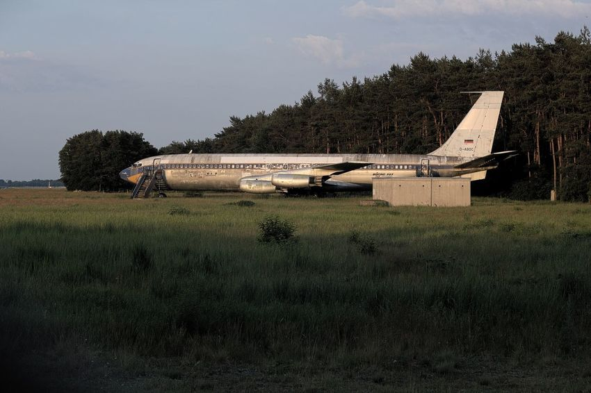 Airplane Airport Field Grass Growth Landscape No People Outdoors Rural Scene Scenics Tree