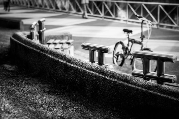 Close-up of toy bicycle on field