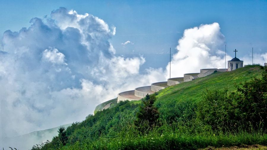 Vetta del monte Grappa - Military shrine of Mount Grappa Sky Cloud - Sky Plant Scenics - Nature Environment Beauty In Nature Nature Day No People Architecture Green Color Tranquility Land Tranquil Scene Built Structure Landscape Grass Outdoors Tree Mountain Air Pollution Pollution