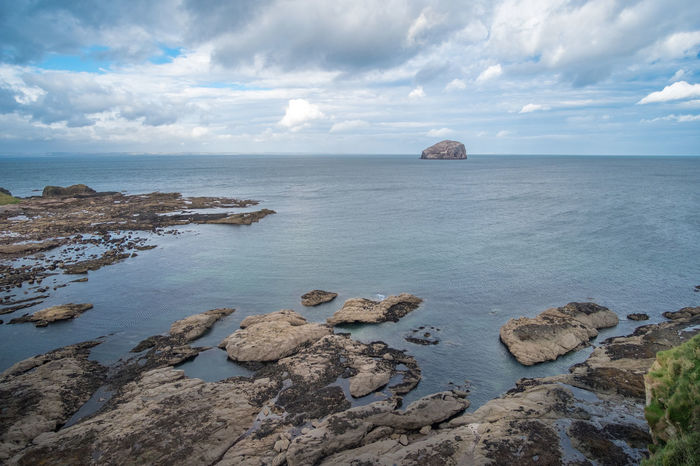 Bass Rock Beach Beauty In Nature Cloud - Sky Day Horizon Over Water Nature No People Outdoors Rock - Object Scenics Sea Sky Tranquil Scene Tranquility Water