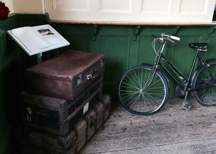 Bicycle Mode Of Transport No People Old-fashioned Railway Museum Stationary Suitcases Transportation