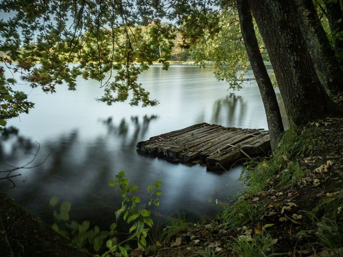 Scenic view of lake in forest and a raft