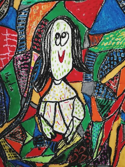 monalisa' portrait by a little boy Kidsdrawing Crayon Lady Pretty Poster Monalisa Potrait Painted Image Multi Colored Backgrounds Full Frame Pattern Art And Craft Creativity Close-up Street Art ArtWork Graffiti Colorful Drawing Modern Art