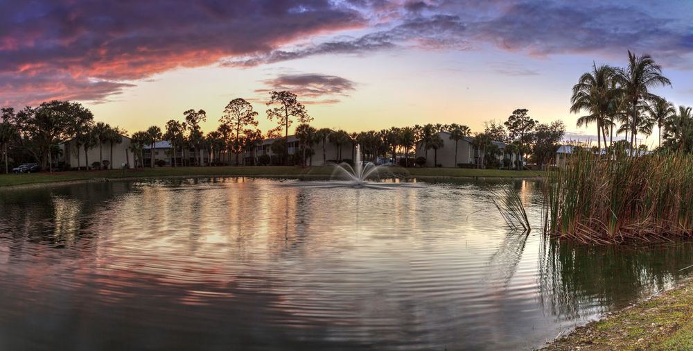 Overlooking a large pond with a fountain at sunset in Atlanta, Georgia Building Exterior Architecture Sky Built Structure Water Nature No People Outdoors Fountain Lake River Sunset Purple Sky Dusk Landscape View Waterfront View Sky And Clouds Tranquil Scene Tranquility Relaxing Calm Beauty In Nature Calm Water