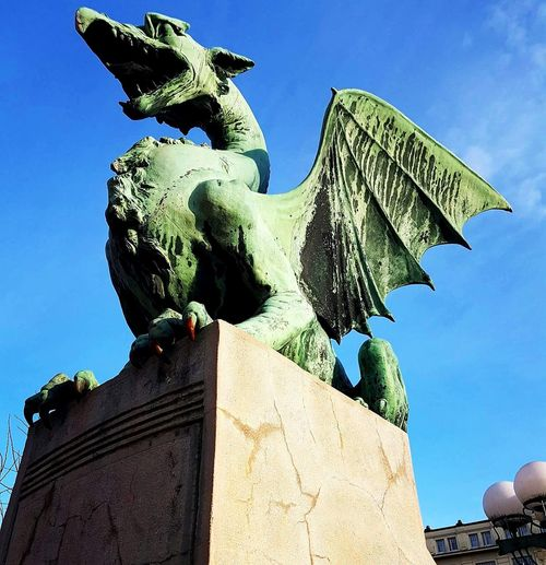Dragon bridge in Ljubljana! Statue Architecture Sculpture Animal Representation No People Outdoors Day Sky Close-up History Dragonbridge Ljubljana Ljubljana, Slovenia Ljubljanadragon Photography Travel