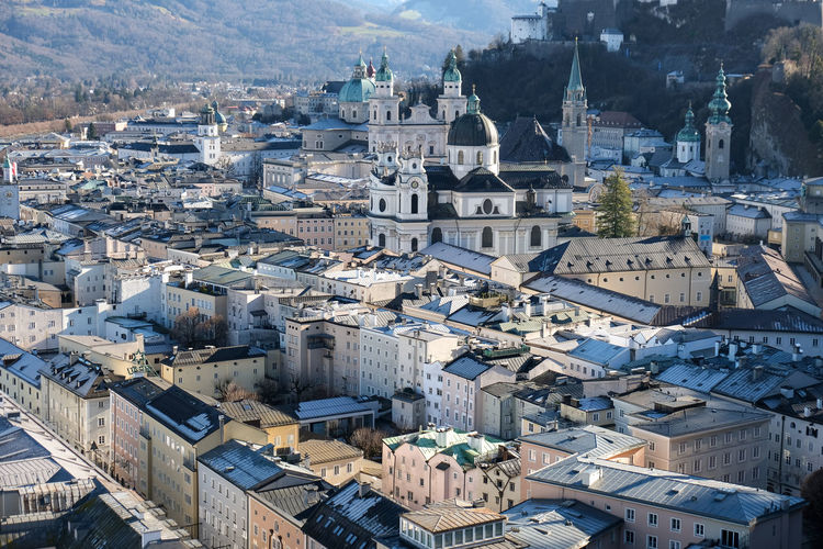 High angle view of buildings in salzburg