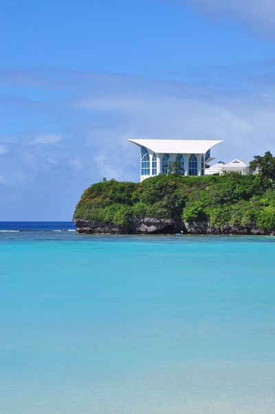 Crystal chapel, Tumon, Guam Architecture Beauty In Nature Scenics Blue Tranquil Scene Outdoors Tranquility Built Structure