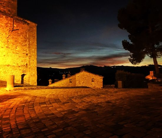 Architecture Built Structure Building Exterior Sky Illuminated History Outdoors Cobblestone No People Night Cloud - Sky The Way Forward Nature San Leo Montefeltro Emiliaromagna