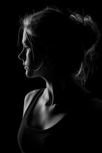 Ine Langeraert Studio Shot Black Background One Person Only Women Side View Close-up Portrait Blackandwhite Human Body Part Beauty EyeEmNewHere