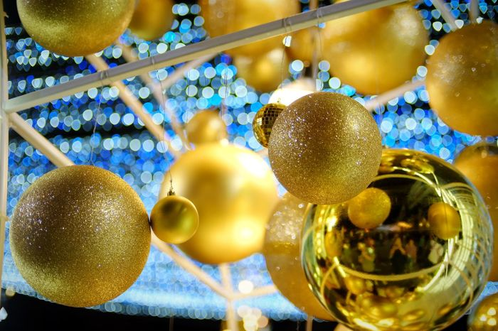 Gold Colored Indoors  Close-up Christmas Is Coming Christmaslights Christmas Time Happiness Christmas Decorations Christmas Ball