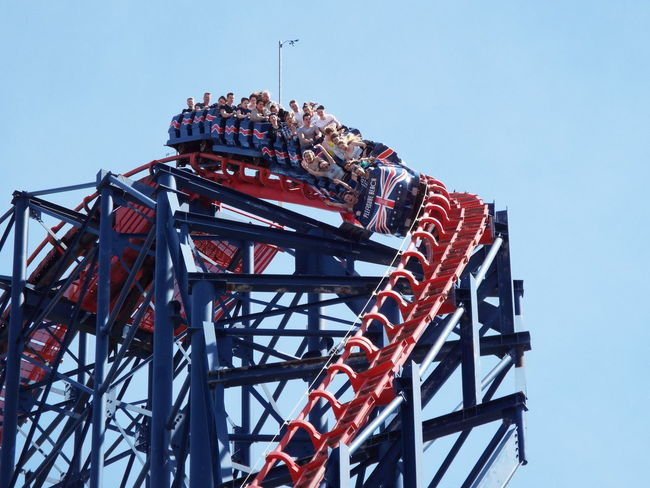 The Essence Of Summer Summertime Summer 2016 Rollercoaster Going Down Hands Up The Big One  Blackpool Pleasure Beach Blue Sky Enjoying Life Rollercoaster Track Rollercoaster Ride RollercoasterRide Screaming Tourists Tourism Tourist Attraction