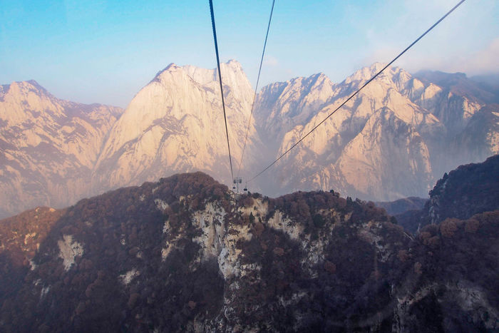 Cableway to mt. Huashan. Mountain Outdoors Landscape Nature Cableway Xian China Adventure Huashan Mountain Huashan China Photos Birdeyeview Traveling Travel Photography Shaanxi Travel Destinations Streamzoofamily