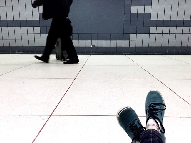 Tiled Floor Motion Airport Travel Person Real People Indoors  Chicago Shoe