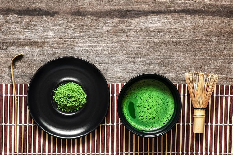 Matcha Tea In Bowl On Table Tea Matcha Green Tea Hot Drink Bowl Food And Drink Directly Above No People Still Life Green Color Indoors  High Angle View Freshness Table Close-up Preparation  Kitchen Utensil Bowl Metal Day Circle Food Refreshment Geometric Shape