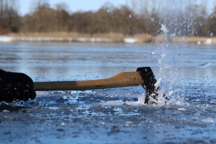 Close-up of water splashing on land