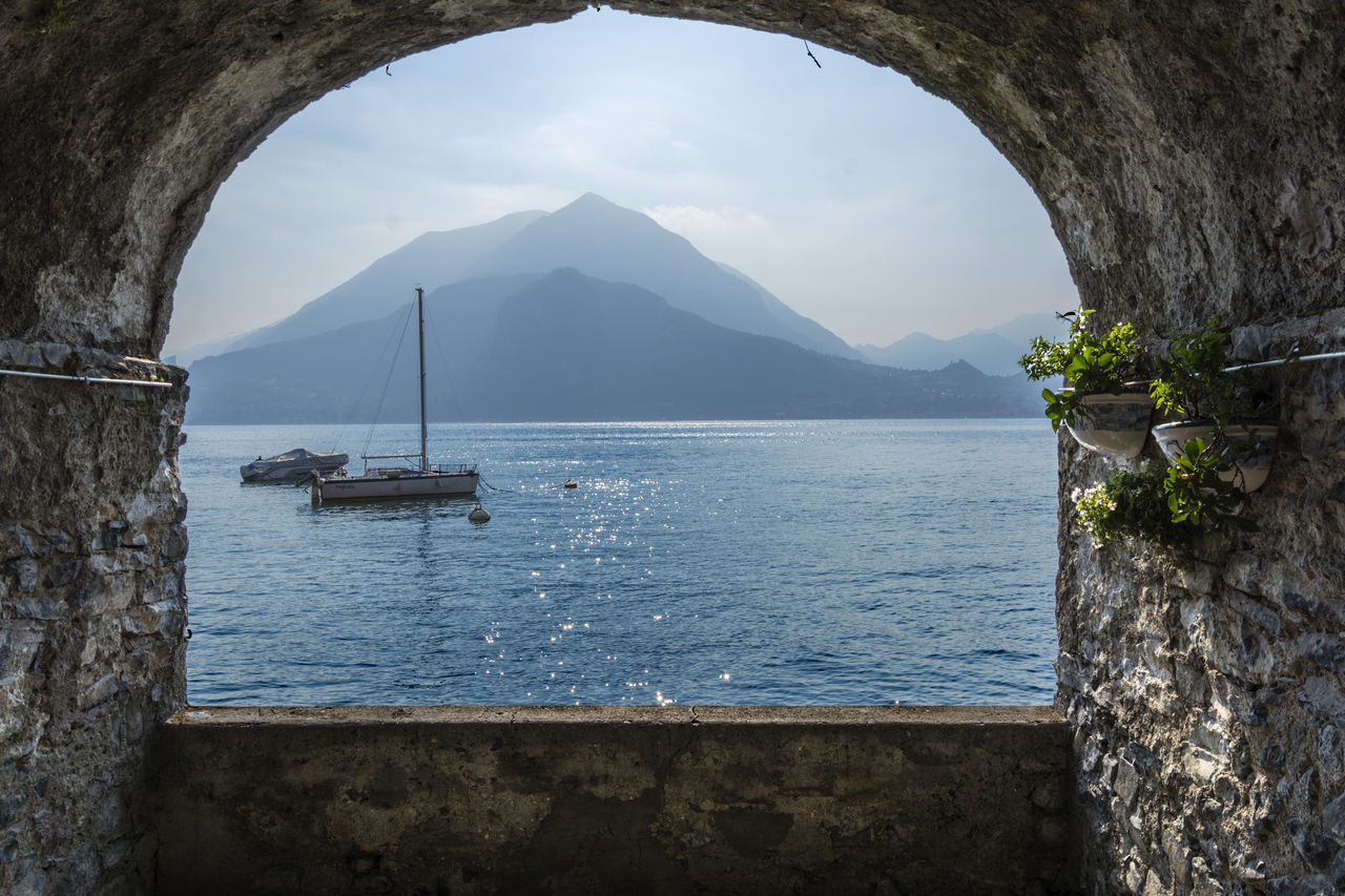 arch, day, water, mountain, nature, nautical vessel, architecture, sea, built structure, beauty in nature, scenics, no people, outdoors, sky