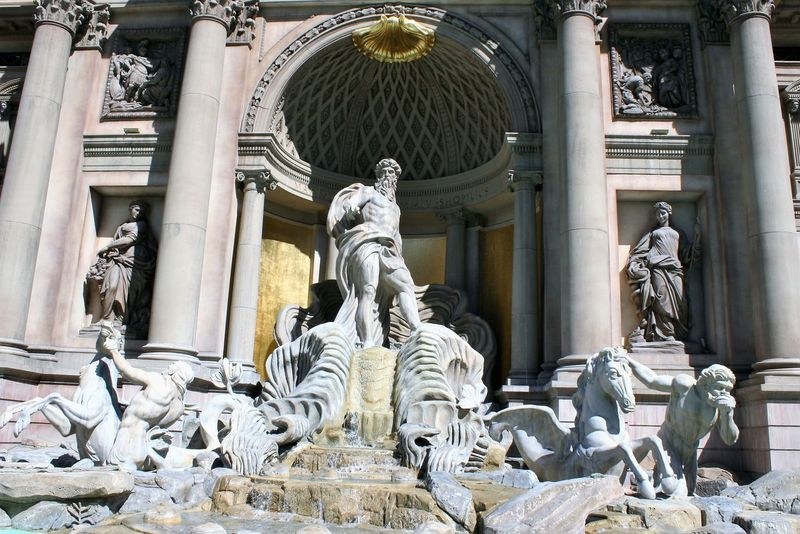 Trevi Fountain in Las Vegas at Ceasar's Palace Ceasar's Palace Ceasars Palace Las Vegas Las Vegas Documentary Photography Las Vegas Hotel Trevi Fountain Architectural Column Architecture Art And Craft Building Exterior Built Structure Day Human Representation Male Likeness No People Outdoors Sculpture Statue Travel Destinations Trevi Brunnen
