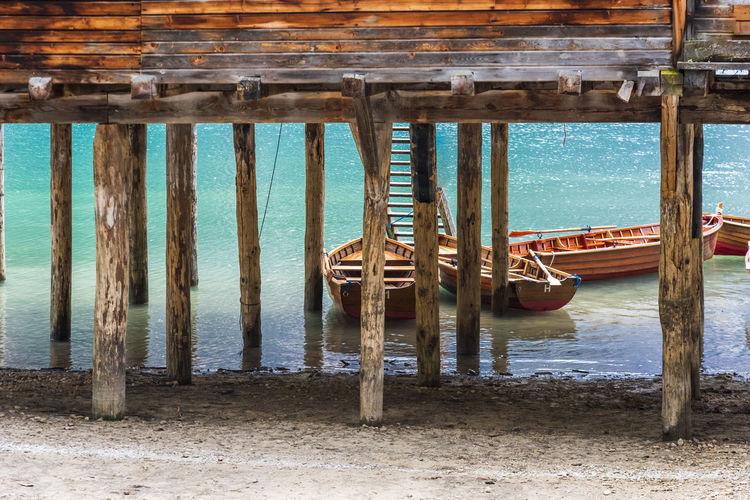 Wooden pier on sea shore