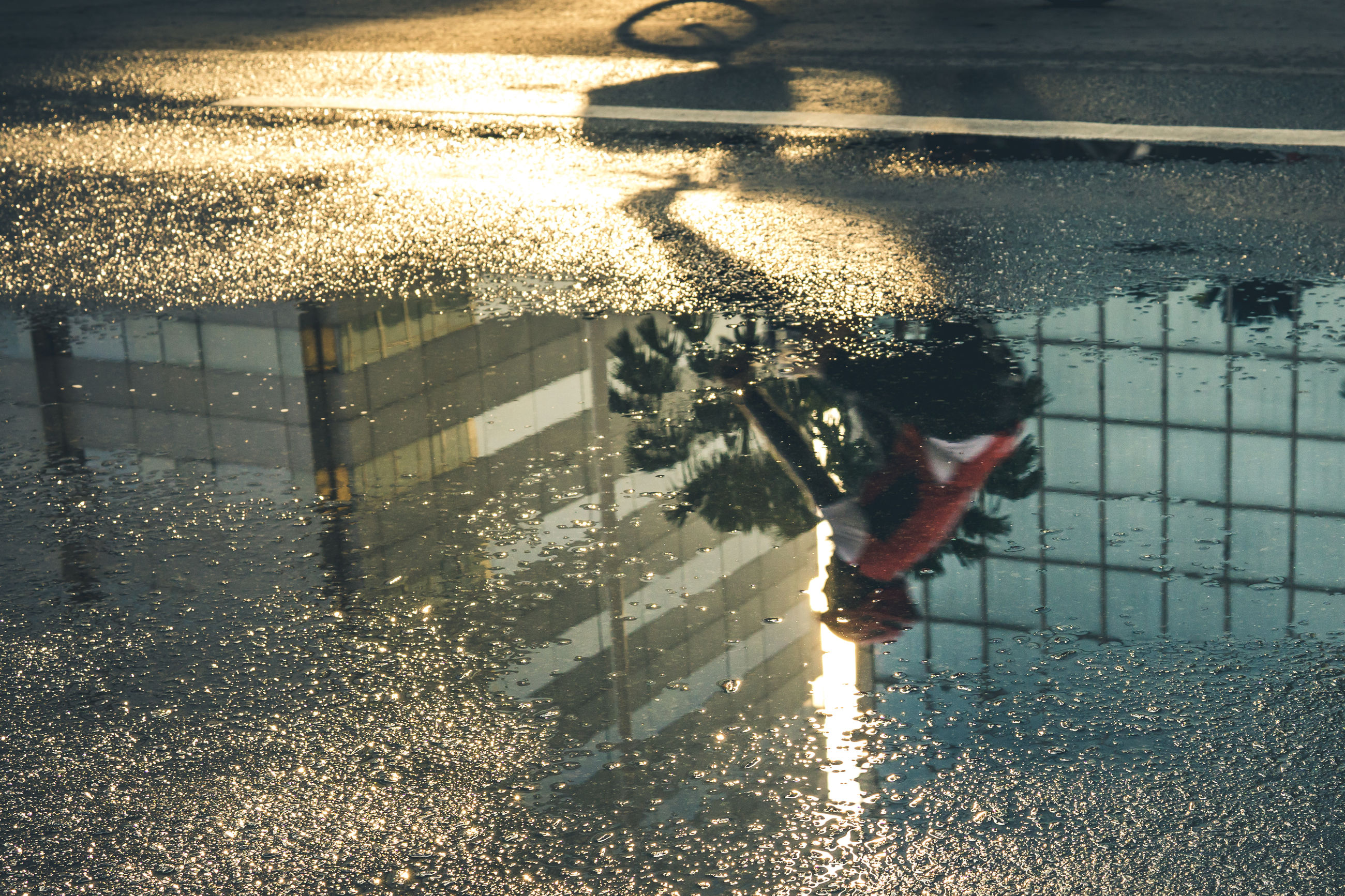 water, sunlight, nature, reflection, day, real people, shadow, architecture, outdoors, high angle view, wet, one person, puddle, lifestyles, built structure, men, transportation, rain, swimming pool