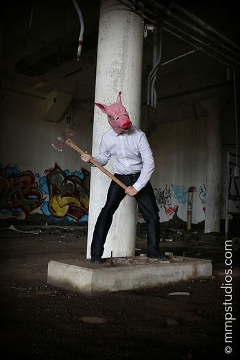@mmpstudios_com @melvinmaya Photography Photographer Model Male Mask Masked Pig Axe Horror Scary Spooky Creepy Graffiti Houston Texas Followme Abandoned Buildings Halloween Front View Creativity Original Artistic Cannon