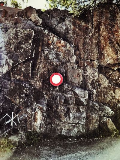 No trespassing Rock Red No People Rock - Object Solid Nature Day Outdoors Rock Formation Textured  Sign