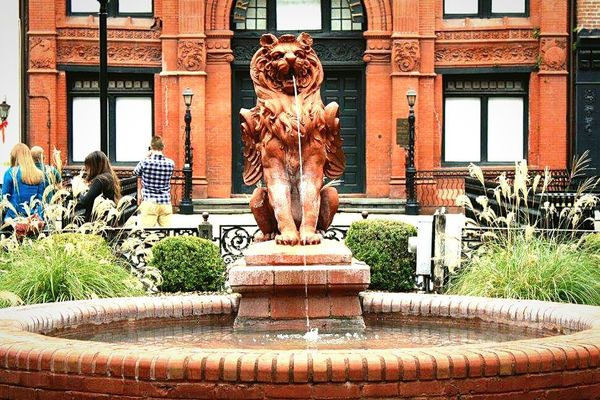 Statue Fountain Sculpture Water Splashing Outdoors Day Beautiful Lion Fountains Fountain_collection Focal Point