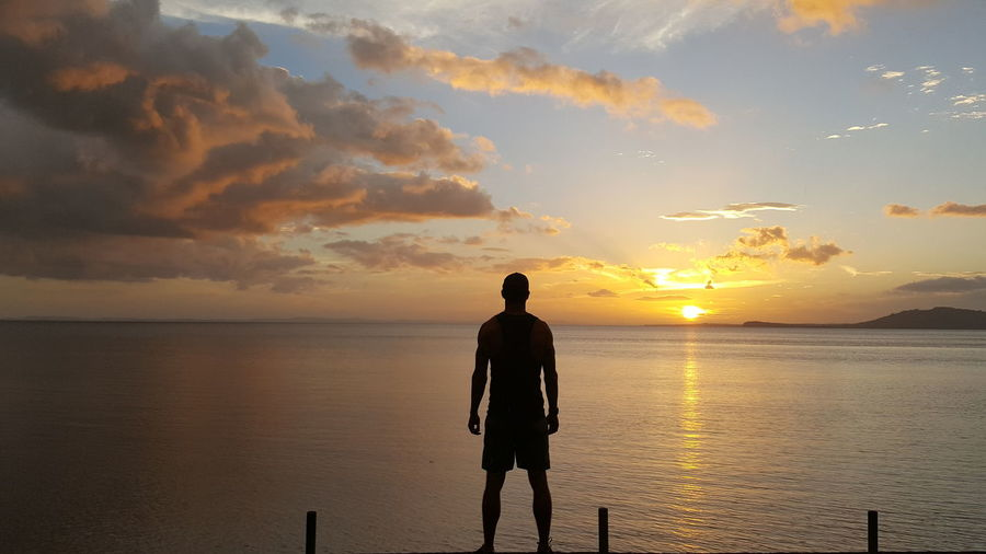 Sunset Beach Reflection Silhouette Sea Sun Horizon Over Water Only Men Cloud - Sky Sky One Man Only Water Tranquility Beauty In Nature One Person People Full Length Summer Standing Adult Nicaragua First Eyeem Photo