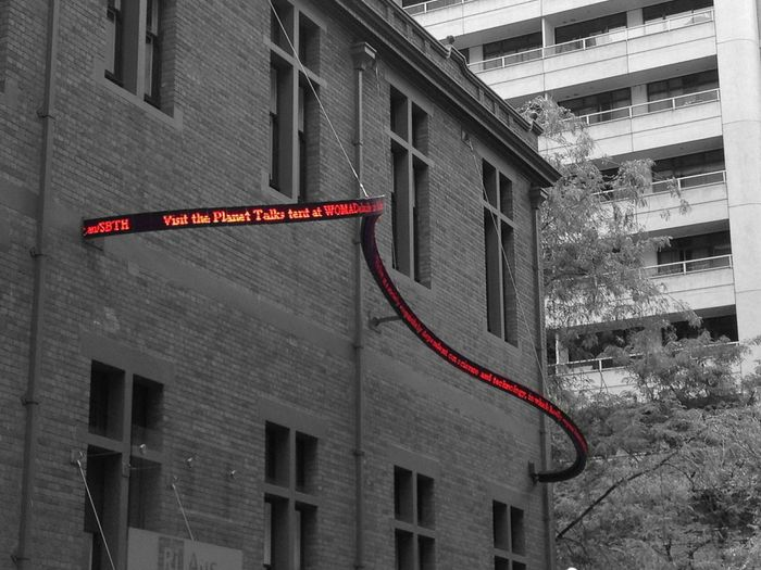 Sign LED Red Blackandwhite Samsung Galaxy Tab 2 Building Exterior South Australia Adelaide Australia Curvy Wave Window Streetphotography City Built Structure Illuminated Communication Building Minimalist Architecture EyeEmNewHere
