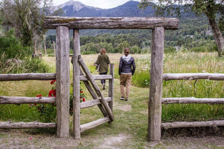Nature Two People Wood - Material Rear View People Outdoors Adult Argentina Bariloche Mountain Togetherness Day Nature