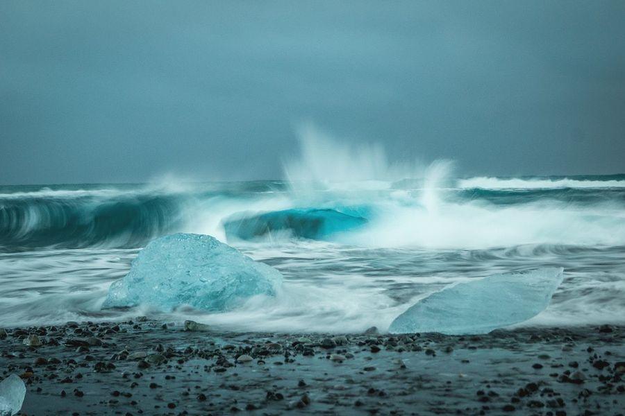Photography In Motion Ice Blue Blueice Blue Ice Iceland Black Blacksand Black Sand Beach Waves Water Ocean Splash