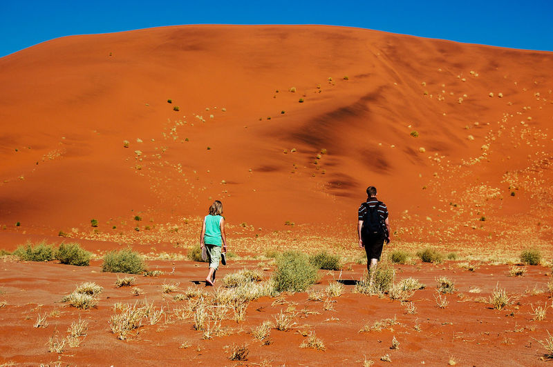 Namibia Adventure Africa Arid Climate Beauty In Nature Day Desert Full Length Hiking Landscape Lifestyles Mammal Men Nature Outdoors People Physical Geography Real People Sand Dune Scenics Sky Togetherness Tourism Two People Walking Perspectives On Nature EyeEmNewHere Rethink Things An Eye For Travel