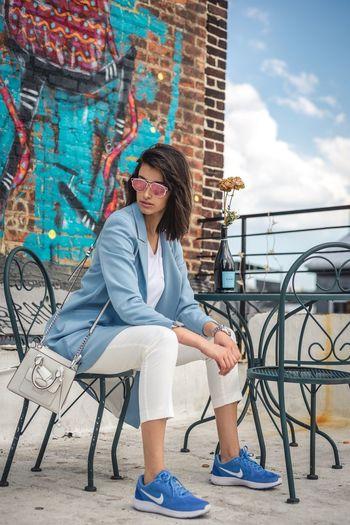 Zara Women Girl Coat Nike NYC New York New York City Lifestyle Women Who Inspire You Womensfashion Shootermag EyeEm Best Shots Fashion Model Urban Lifestyle Urban Exploration NYC Street Streetphotography Street Art/Graffiti Natural Light Portrait