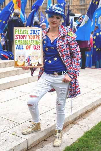 Anti Brexit Campaigner outside Westminster Front View Real People One Person Incidental People Day Looking At Camera Lifestyles Portrait The Portraitist - 2019 EyeEm Awards