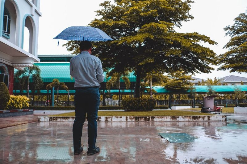 Rainy day Alonetime Alone Time Alone Tree Real People Water Built Structure Plant Wet Architecture Full Length Umbrella Nature Standing Building Exterior Rain Lifestyles One Person Rainy Season Day Outdoors