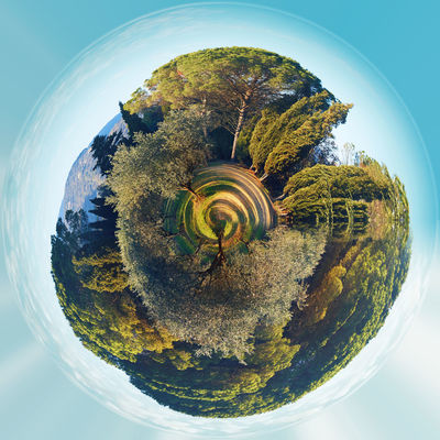 Little planet 360 degree sphere. Panorama of Lourmarin park. Provence-Alpes-Cote d'Azur. France 360 Degree Circle Earth Land Panorama Panoramic Provence Alpes Cote D´Azur Sphere Trees Beauty In Nature Beauty In Nature Day Landscape Lourmarin Miniature Nature No People Outdoors Park - Man Made Space Planet Three Dimensional Three Dimentional Photography Trees And Sky World Worldwide