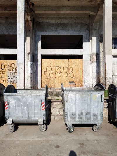 City Garbage Graffiti Container Architectural Column Abandoned Sunlight Architecture Building Exterior Built Structure