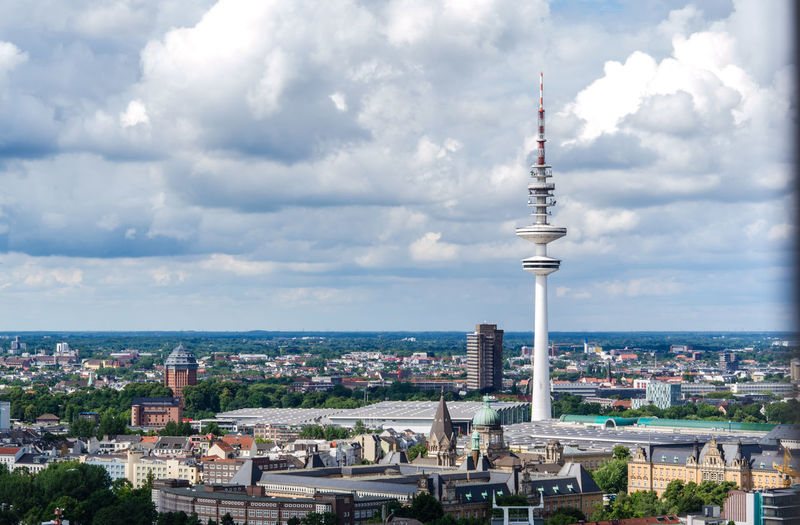EyeEm Selects Tower Architecture Communication City Cloud - Sky Travel Destinations High Angle View Cityscape Urban Skyline Global Communications Hamburg Hamburgmeineperle Love This City Hamburger Michel Fernsehturm Hamburg