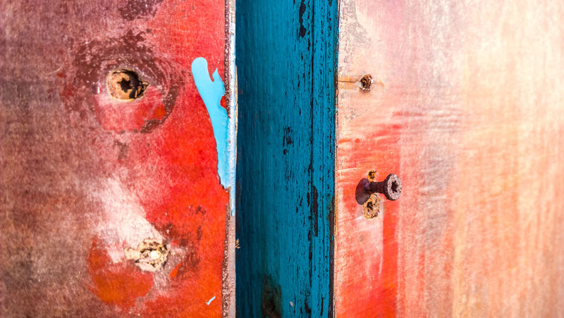 Door Backgrounds Full Frame Vibrant Color Multi Colored Outdoors Weathered Day Textured  Red Rough Close-up Hinge Paint Latch No People Architecture