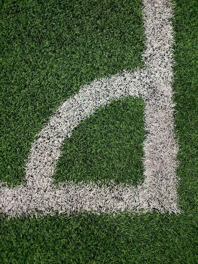 High angle view of corner marking on soccer field