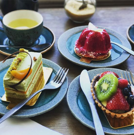 Dessert for us. Plate Food And Drink Table Freshness Food Ready-to-eat SLICE Indulgence Indoors  No People Fork Serving Size Healthy Eating Refreshment Breakfast Temptation Sweet Food Fruit Day Close-up
