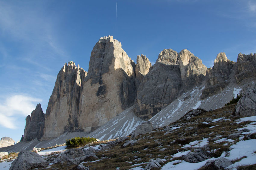 Beautiful National Park Beauty In Nature Cliff Day Dolomiti Dreizinnen Formation Of Nature Low Angle View Mountain Nationalgeographic Nature No People Outdoors Rock - Object Scenics Sky Snow Tranquility